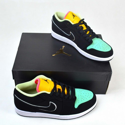 Air Jordan 1 Low Black Aurora Green