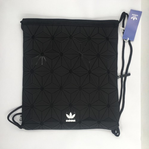 3D Prism Drawstring Gym Bag Black