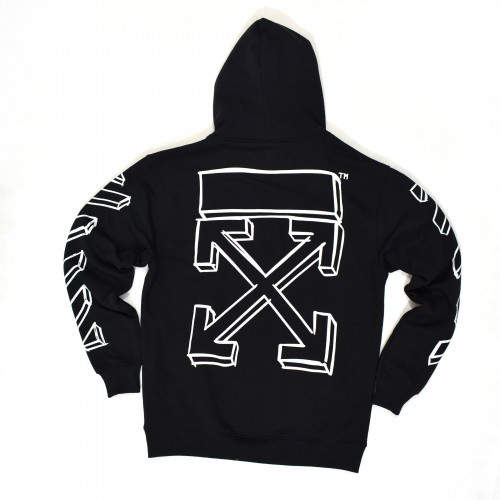 Off-White 3D Marker Line Arrows Hoodie Black [Hop Batch]