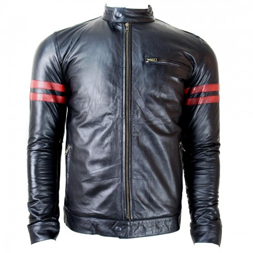 CDL Red Band Black Leather Jacket