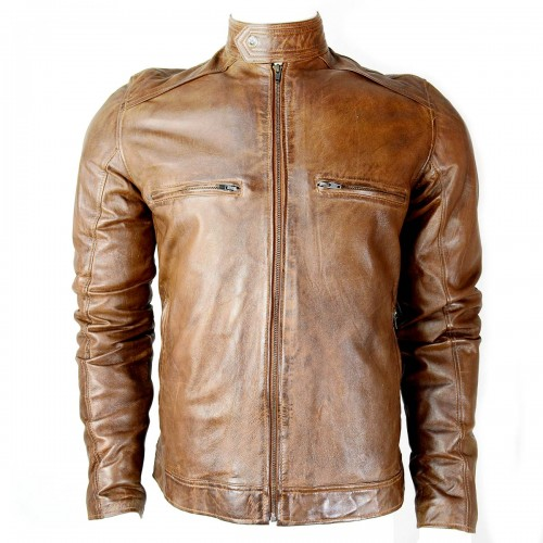 CDL Distressed Brown Leather Jacket