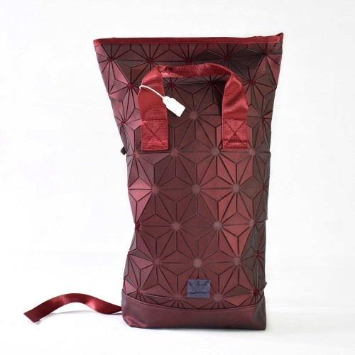 3D Prism Roll Top Backpack Red