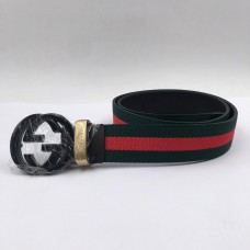 GG Signature Striped Black Buckle Belt