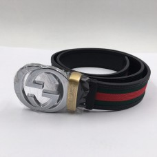 GG Signature Striped Silver Buckle Belt