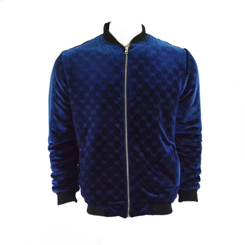 GG Web Logo Bomber Jacket Blue