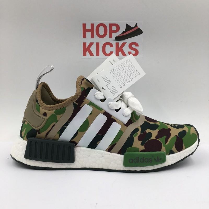 "0d1d6183bd0bf BAPE x Adidas NMD R1 Primeknit ""Camo Green"""